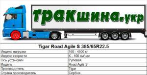 На фото показаны характеристики шины Road Agile S